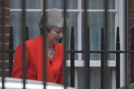 British Prime Minister Theresa May leaves the back of Downing Street, in London, Britain, May 24, 2019. REUTERS/Toby Melville