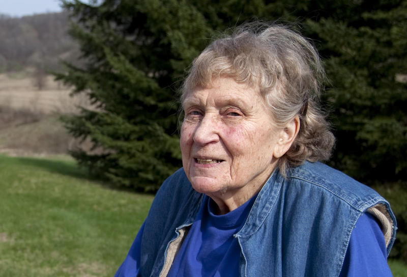 FILE - This April 13, 2010 file photo shows Lana Peters, or Svetlana Alliluyeva, on a rural road outside Richland Center, Wis. Newly declassified files show the FBI was gathering details from informants on how Peters' arrival in the United State was affecting international relations after her high-profile defection in 1967. Peters, Soviet dictator Josef Stalin's only daughter, died in a Wisconsin nursing home in 2011. She was 85. (AP Photo/Wisconsin State Journal, Steve Apps/file)
