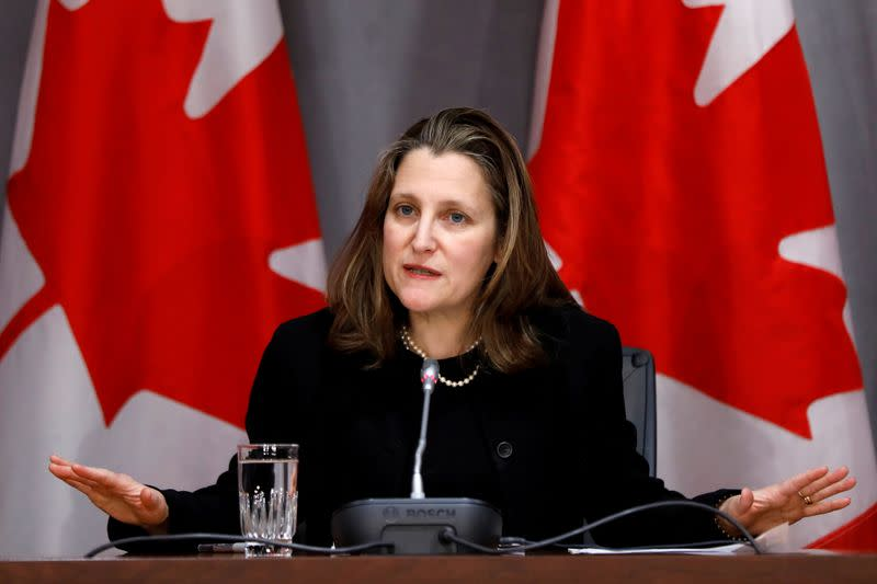 FILE PHOTO: Canada's Deputy PM Freeland attends news conference on Parliament Hill in Ottawa