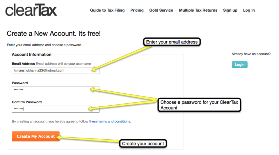 2. Create an account by typing in your email address and choosing a password