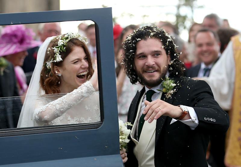 Game of Thrones stars Rose Leslie and Kit Harington got married on Saturday, June 23, in Aberdeen, Scotland, eight months after getting engaged. The series' cast, including Sophie Turner, Maisie Williams, Emilia Clarke, and Peter Dinklage, and many of the couple's other closest friends were all there for the ceremony. (Read more about all the details of the wedding here.)