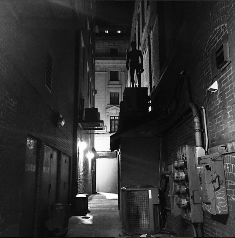 """<p>In this moody photo from Sept. 1, the web-slinger appears poised atop a fire escape in an alley. Holland gives a shout-out to the """"amazing"""" stunt crew for """"making me look like a badass."""" <i>(Photo: <a href=""""https://www.instagram.com/p/BJojNyMjE6T"""" rel=""""nofollow noopener"""" target=""""_blank"""" data-ylk=""""slk:Tom Holland/Instagram"""" class=""""link rapid-noclick-resp"""">Tom Holland/Instagram</a>)</i></p>"""
