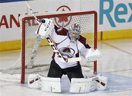 Colorado Avalanche goaltender Semyon Varlamov (1) makes a save against the Edmonton Oilers during the first period at Rexall Place. Perry Nelson-USA TODAY Sports
