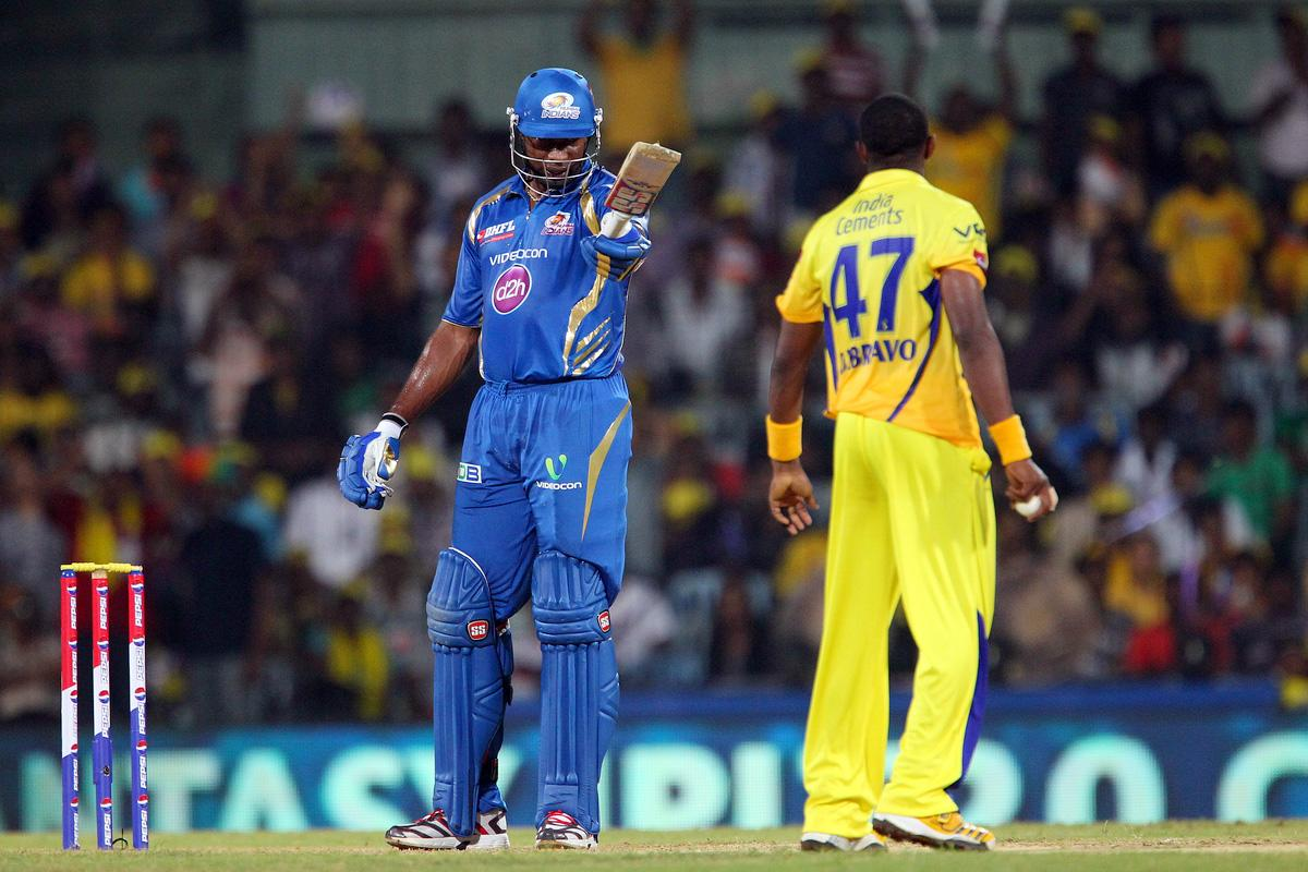 Kieron Pollard and Dwayne Bravo have words after a delivery during match 5 of of the Pepsi Indian Premier League between The Chennai Superkings and the Mumbai Indians held at the MA Chidambaram Stadiumin Chennai on the 6th April 2013..Photo by Ron Gaunt-IPL-SPORTZPICS ..Use of this image is subject to the terms and conditions as outlined by the BCCI. These terms can be found by following this link:..https://ec.yimg.com/ec?url=http%3a%2f%2fwww.sportzpics.co.za%2fimage%2fI0000SoRagM2cIEc&t=1493598870&sig=nj60l.BfiYhTNgnD7L_4QA--~C