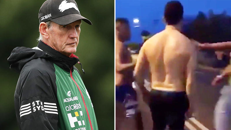 Wayne Bennett, pictured here looking on at a South Sydney training session.