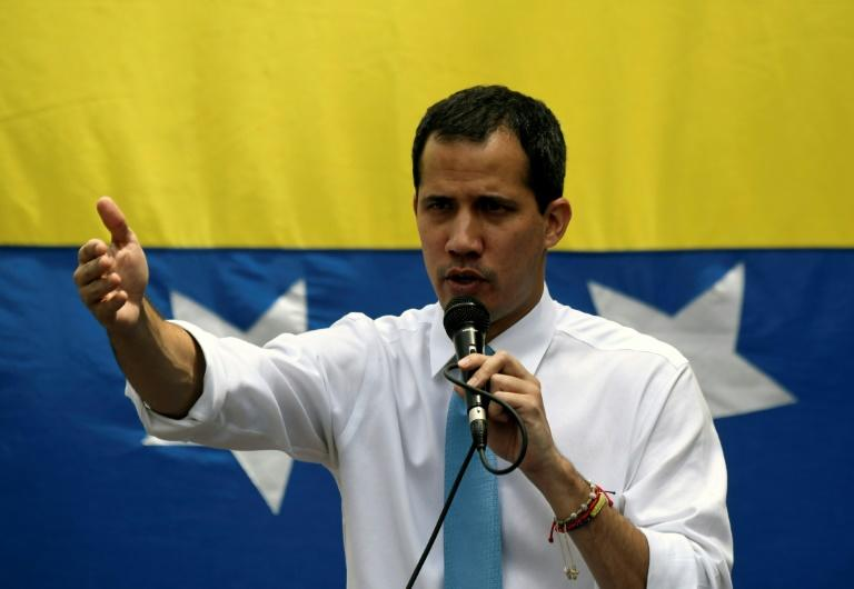Venezuelan opposition leader Juan Guaido addresses supporters during a March 10, 2020 demonstration in Caracas (AFP Photo/Federico Parra)
