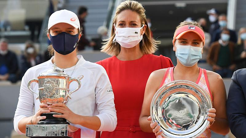 Iga Swiatek and Sofia Kenin, pictured here after the French Open final.