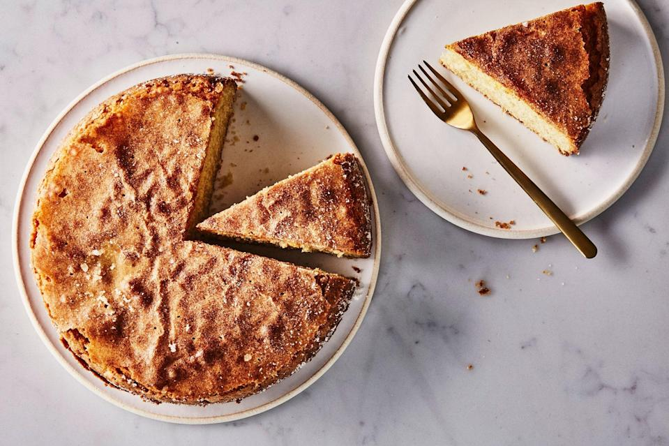 """Even die-hard butter devotees admit that olive oil makes exceptionally good cakes. EVOO is liquid at room temperature, so it lends superior moisture over time. In fact, olive oil cake only improves the longer it sits—this dairy-free version will keep on your counter for days (not that it'll last that long). <a href=""""https://www.epicurious.com/recipes/food/views/olive-oil-cake?mbid=synd_yahoo_rss"""" rel=""""nofollow noopener"""" target=""""_blank"""" data-ylk=""""slk:See recipe."""" class=""""link rapid-noclick-resp"""">See recipe.</a>"""