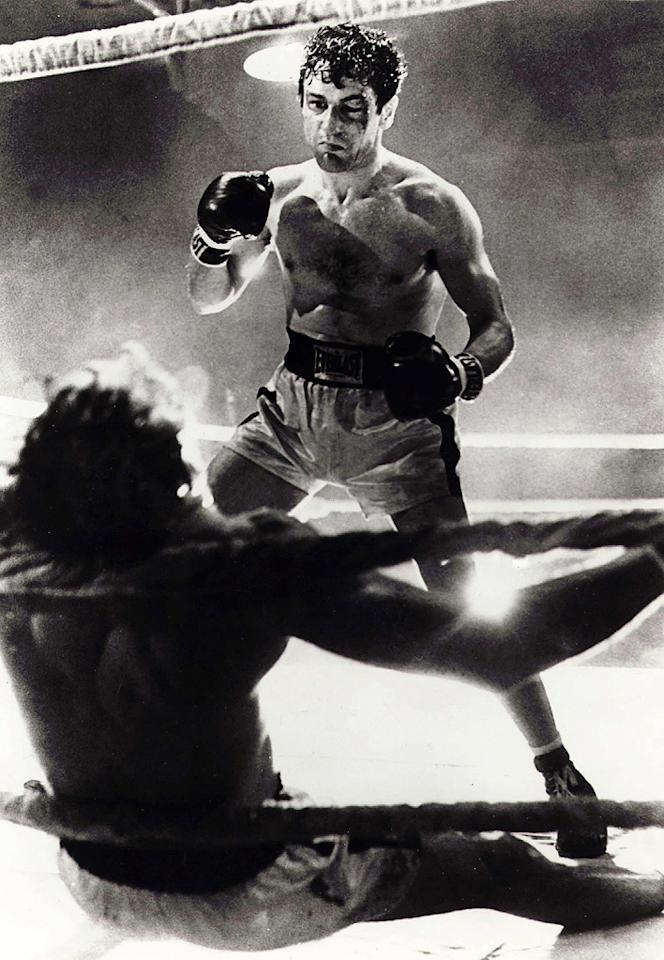 "<a href=""http://movies.yahoo.com/movie/1800109559/info"">RAGING BULL</a>  Based on: The self-destructive middleweight champion boxer   Jake LaMotta was famous for his ability to withstand punishment in the ring and for his penchant for dispensing punishment to those close to him out of the ring. It's the sort of the stuff that makes for great movies, and Martin Scorcese's savage portrait of the pugilist fits the bill. Robert DeNiro -- who not only fought in three actual Brooklyn matches for the part, but also went on to gain 60 pounds to play the older, pudgier LaMotta – more than deserved the Oscar he won for his efforts."