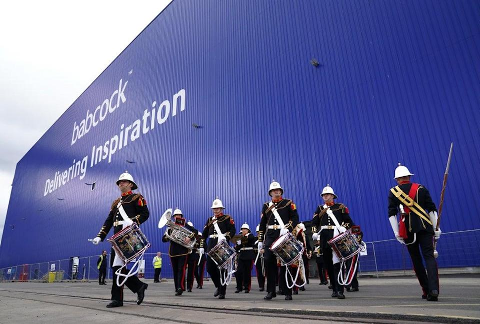 The Royal Marine Band leave The Venturer Building after the ceremony (Andrew Milligan/PA) (PA Wire)