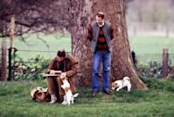 <p>Prince Charles sketching on the bank of the River Thames with Prince Edward and two canine companions.</p>