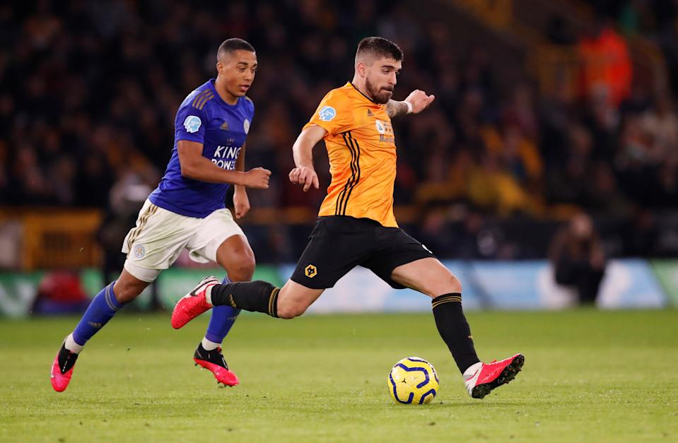 Wolverhampton Wanderers' Ruben Neves (right) in action with Leicester City's Youri Tielemans.