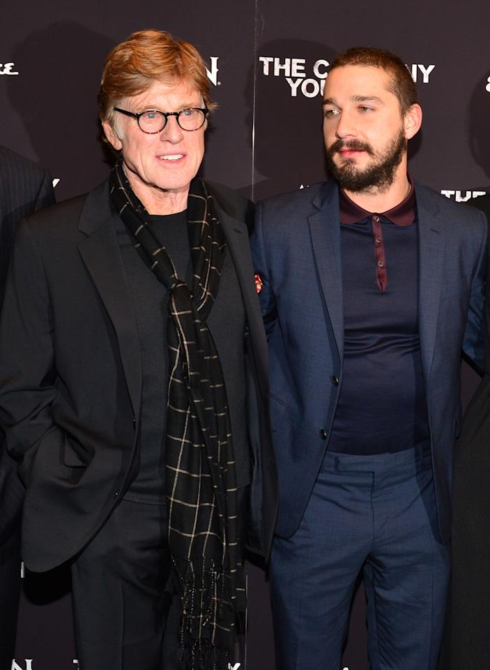 """NEW YORK, NY - APRIL 01:  Director\Actor Robert Redford and Shia LaBeouf attend """"The Company You Keep"""" New York Premiere at The Museum of Modern Art on April 1, 2013 in New York City.  (Photo by Larry Busacca/Getty Images)"""