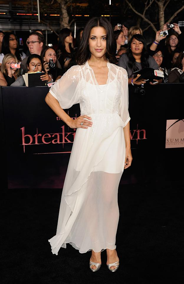 """<a href=""""http://movies.yahoo.com/movie/contributor/1808594424"""">Julia Jones</a> at the Los Angeles premiere of <a href=""""http://movies.yahoo.com/movie/1810158314/info"""">The Twilight Saga: Breaking Dawn - Part 1</a> on November 14, 2011."""
