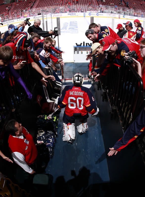 SUNRISE, FL - APRIL 15: Goaltender Jose Theodore #60 of the Florida Panthers leads the team onto the ice for the warm up prior to the game against the New Jersey Devils in Game Two of the Eastern Conference Quarterfinals during the 2012 NHL Stanley Cup Playoffs at the BankAtlantic Center on April 15, 2012 in Sunrise, Florida. (Photo by Joel Auerbach/Getty Images)