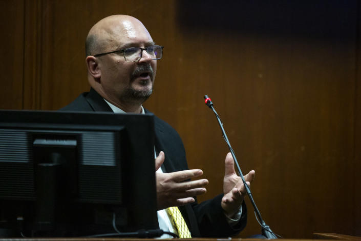 DCI Special Agent Trent Vileta answers questions from the witness stand during Cristhian Bahena Rivera's trial, on Monday, May 24, 2021, in the Scott County Courthouse, in Davenport, Iowa. Bahena Rivera is on trial after being charged with first degree murder in the death of Mollie Tibbetts in July 2018. (Kelsey Kremer/The Des Moines Register via AP, Pool)