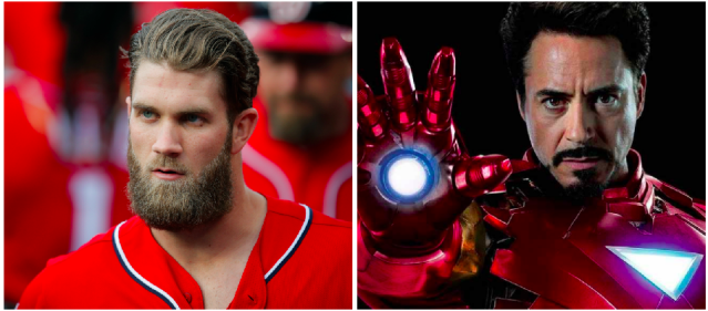 Bryce Harper has the confidence to make a good Iron Man. (Photos via AP and Marvel)