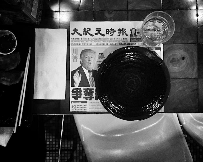 <p>Donald Trump is seen on a placemat at an Asian restaurant in Boston, Mass. (Photo: Holly Bailey/Yahoo News) </p>
