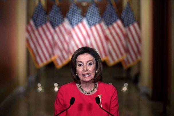 PHOTO: Speaker of the House Rep. Nancy Pelosi delivers a statement at the hallway of the Speakers Balcony at the U.S. Capitol, March 23, 2020, in Washington, DC. (Alex Wong/Getty Images, FILE)
