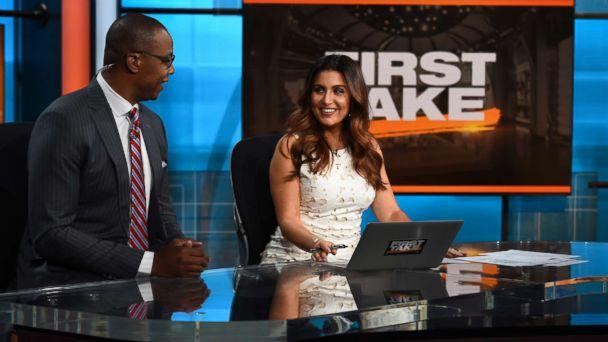 PHOTO: Caron Butler and Molly Qerim on the set of First Take. (Melissa Rawlins/ESPN Images)