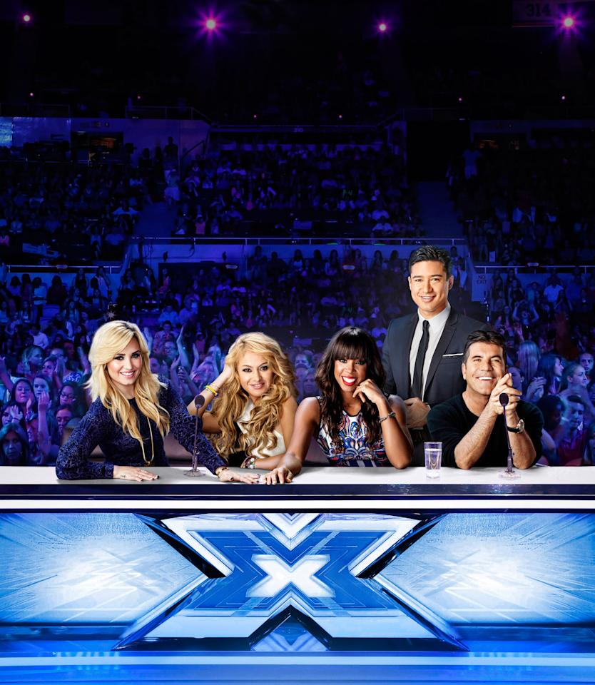 THE X FACTOR: L-R: Demi Lovato, Paulina Rubio, Kelly Rowland, Mario Lopez and Simon Cowell on THE X FACTOR. Season three of THE X FACTOR premieres Wednesday, Sept. 11 (8:00-9:00 PM ET/PT) and Thursday, Sept. 12 (8:00-10:00 PM ET/PT) then airs Wednesday, Sept. 18 (8:00-10:00 PM ET/PT) and Thursday, Sept. 19 (8:00-9:00 PM ET/PT.)  CR: Nino Munoz / FOX