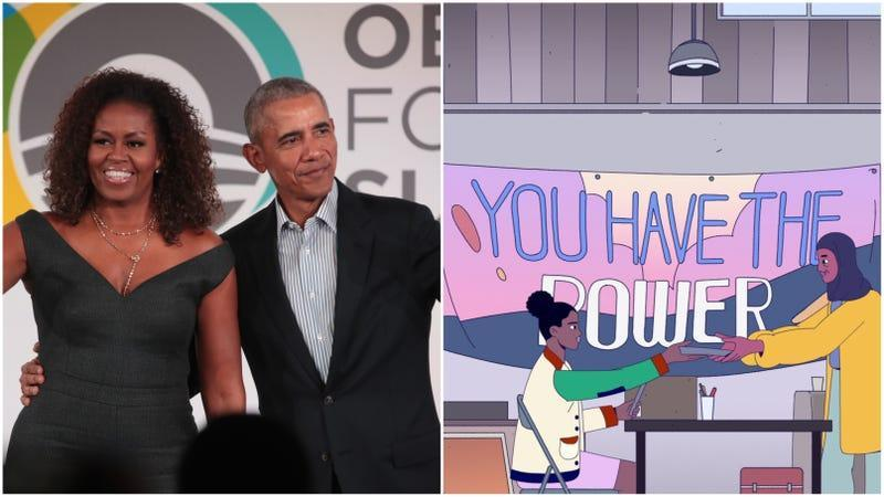 (L-) Barack Obama and his wife Michelle close the Obama Foundation Summit on October 29, 2019 in Chicago, Illinois. (R-) A still from their upcoming Netflix series, We the People.