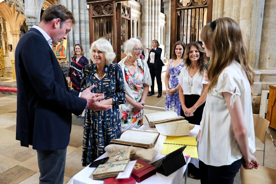 Camilla heard about restoration work on the cathedral and viewed some of its historic treasures (Chris Jackson/PA) (PA Wire)