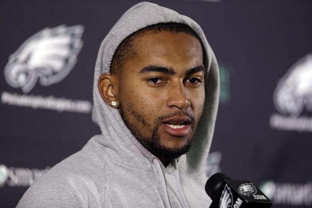 Philadelphia Eagles wide receiver DeSean Jackson speaks during a news conference after NFL football practice at the team's training facility, Tuesday, Dec. 31, 2013, in Philadelphia. (AP Photo/Matt Rourke)