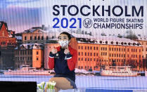 Karen Chen of the USA reacts after performing during the Ladies Short Program at the Figure Skating World Championships in Stockholm, Sweden, Wednesday, March 24, 2021. (AP Photo/Martin Meissner)