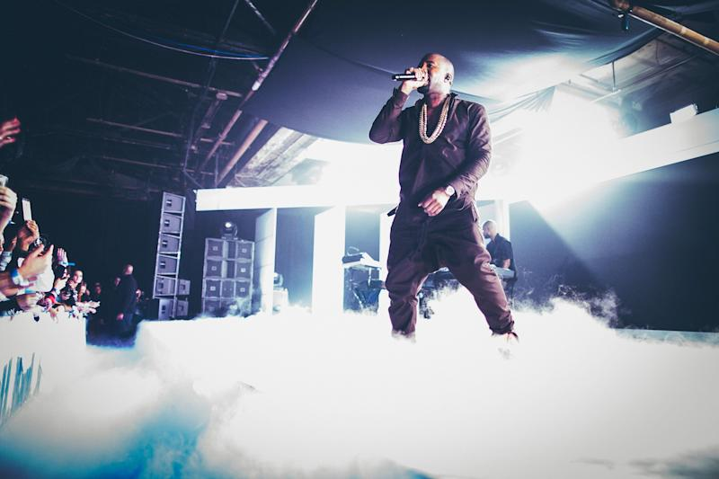 NEW YORK, NY - OCTOBER 24: Kayne West performs during the Samsung Galaxy Notes II launch at Skylight at Moynihan Station, on October 24, 2012 in New York City. (Photo by 13thWitness/Getty Images for Samsung)