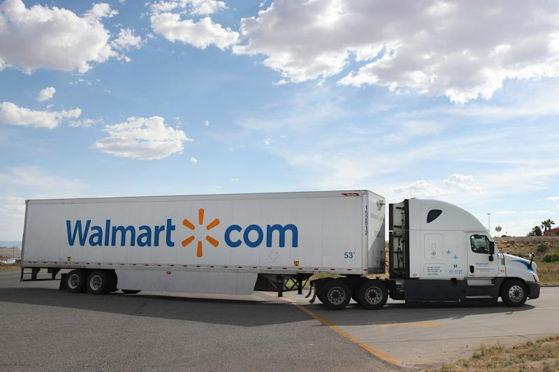 WASHINGTON, UT - JUNE 06: A truck enters a large regional Walmart distribution center on June 6, 2019 in Washington, Utah. Walmart has announced one day delivery and other services to challenge Amazon. (Photo by George Frey/Getty Images)