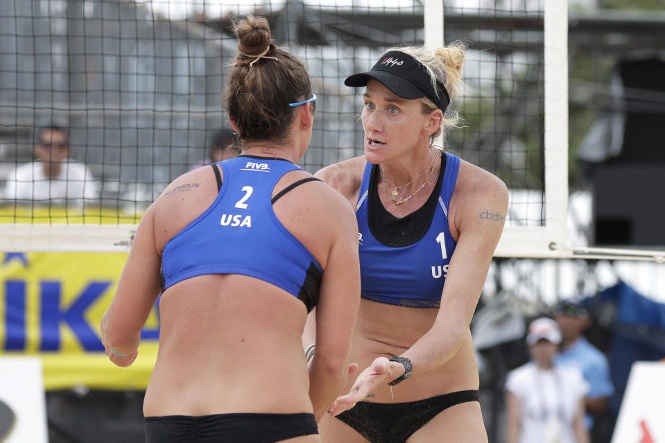TOKYO, JAPAN - JULY 27: Kerri Walsh Jennings (R) and Brooke Sweat of the United States react in the Women's Round 1 match against Carolina Salgado and Maria Antonelli of Brazil on day four of the FIVB Beach Volleyball World Tour Tokyo, Tokyo 2020 Olympic Games Test Event, at Shiokaze Park on July 27, 2019 in Tokyo, Japan. (Photo by Kiyoshi Ota/Getty Images)