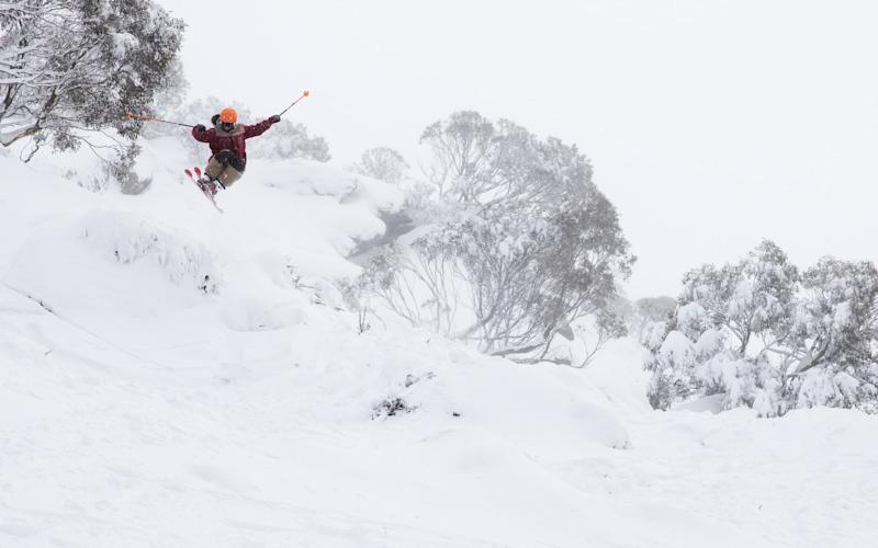 It's the first week of the ski season in Australia and skiers and snowboarders are already enjoying powder days - thredbo resort