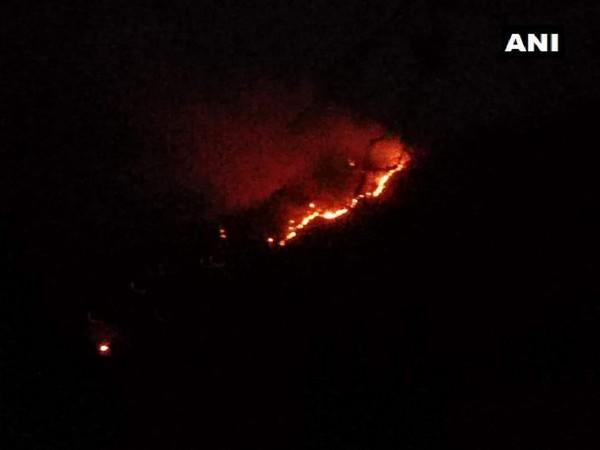 massive fire broke out in the forest of Daya Dhar, Ghordi area, Udhampur in Jammu and Kashmir on Sunday. [Photo/ANI]