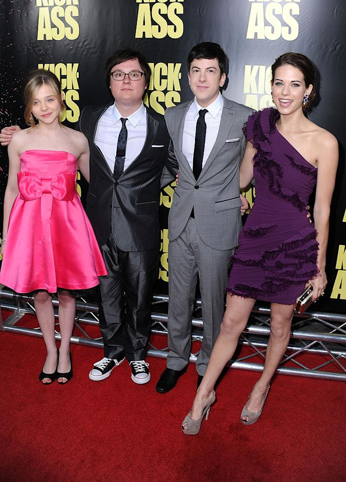 """<a href=""""http://movies.yahoo.com/movie/contributor/1808549150"""">Chloe Grace Moretz</a>, <a href=""""http://movies.yahoo.com/movie/contributor/1804500481"""">Clark Duke</a>, <a href=""""http://movies.yahoo.com/movie/contributor/1809856246"""">Christopher Mintz-Plasse</a> and <a href=""""http://movies.yahoo.com/movie/contributor/1809727742"""">Lyndsy Fonseca</a> at the Los Angeles premiere of <a href=""""http://movies.yahoo.com/movie/1810063108/info"""">Kick-Ass</a> - 04/13/2010"""