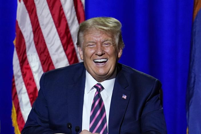 "<span class=""caption"">If he's laughing, it's probably not at the Lincoln Project's satire.</span> <span class=""attribution""><a class=""link rapid-noclick-resp"" href=""https://newsroom.ap.org/detail/Election2020Trump/42fe3a9441a149b4b2bc2814926266b0/photo"" rel=""nofollow noopener"" target=""_blank"" data-ylk=""slk:AP Photo/Ross D. Franklin"">AP Photo/Ross D. Franklin</a></span>"