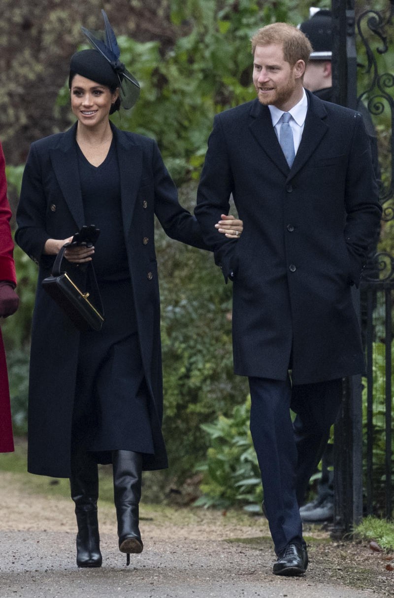Prince Harry, Duke of Sussex and Meghan, Duchess of Sussex attend Christmas Day Church service at Church of St Mary Magdalene on the Sandringham estate on December 25, 2018 in King's Lynn, England.