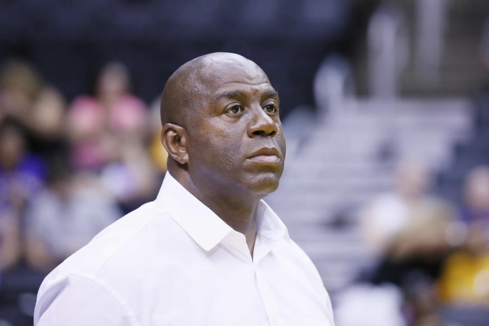 Missing the playoffs this season would be viewed as a massive failure for Magic Johnson. (Getty)