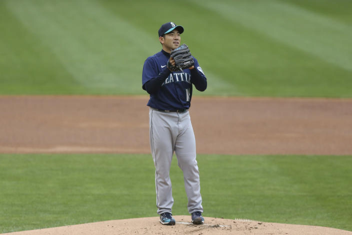 Seattle Mariners pitcher Yusei Kikuchi (18) stands on the mound during the first inning of a baseball game against the Minnesota Twins, Saturday, April 10, 2021, in Minneapolis. (AP Photo/Stacy Bengs)