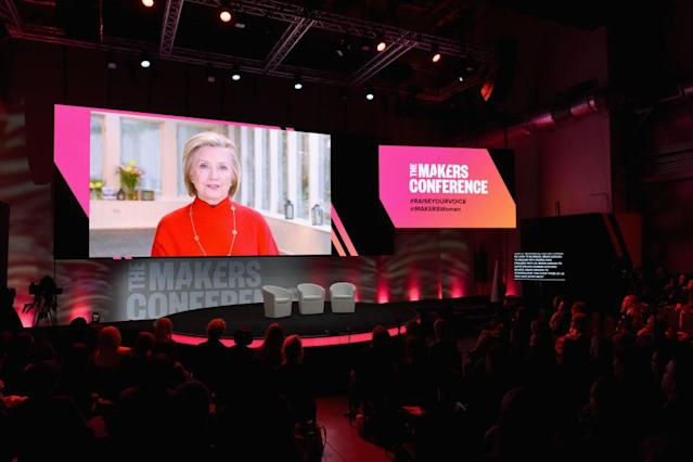 Hillary Clinton in a webcast during the 2018 Makers Conference at NeueHouse Hollywood  in Los Angeles. (Photo: Getty Images)