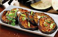 """<p>This eggplant dish is one of <a href=""""https://www.thedailymeal.com/cook/50-vegetarian-recipes-meatless-mondays-or-any-other-time-slideshow?referrer=yahoo&category=beauty_food&include_utm=1&utm_medium=referral&utm_source=yahoo&utm_campaign=feed"""" rel=""""nofollow noopener"""" target=""""_blank"""" data-ylk=""""slk:the best meals for Meatless Mondays"""" class=""""link rapid-noclick-resp"""">the best meals for Meatless Mondays</a>. The recipe comes with a special ingredient that will make your eggplant stand out from your other grilled veggies: a spicy red chili steak sauce.</p> <p><a href=""""https://www.thedailymeal.com/recipes/grilled-chili-pepper-eggplant?referrer=yahoo&category=beauty_food&include_utm=1&utm_medium=referral&utm_source=yahoo&utm_campaign=feed"""" rel=""""nofollow noopener"""" target=""""_blank"""" data-ylk=""""slk:For the Red Chili Glazed Eggplant recipe, click here."""" class=""""link rapid-noclick-resp"""">For the Red Chili Glazed Eggplant recipe, click here.</a></p>"""