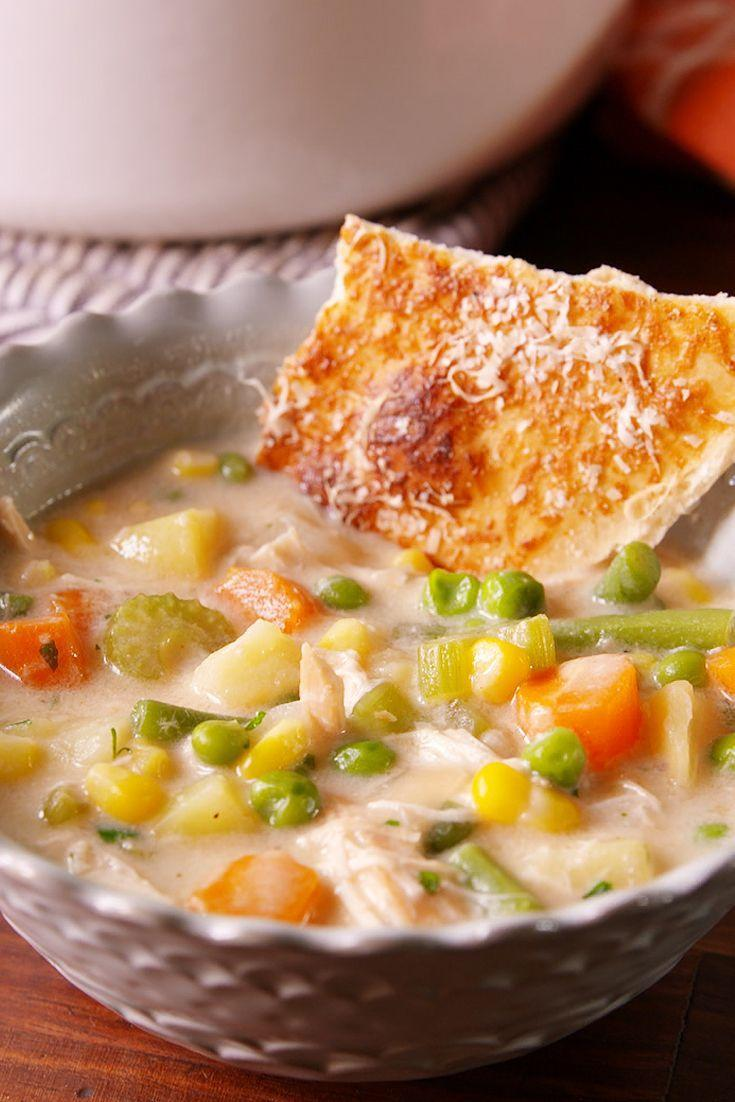 """<p>Cozy up to a bowl of this hearty soup and you might even forget it's Winter.</p><p>Get the recipe from <a href=""""https://www.delish.com/cooking/recipe-ideas/recipes/a51568/chicken-pot-pie-soup-recipe/"""" rel=""""nofollow noopener"""" target=""""_blank"""" data-ylk=""""slk:Delish"""" class=""""link rapid-noclick-resp"""">Delish</a>. </p>"""