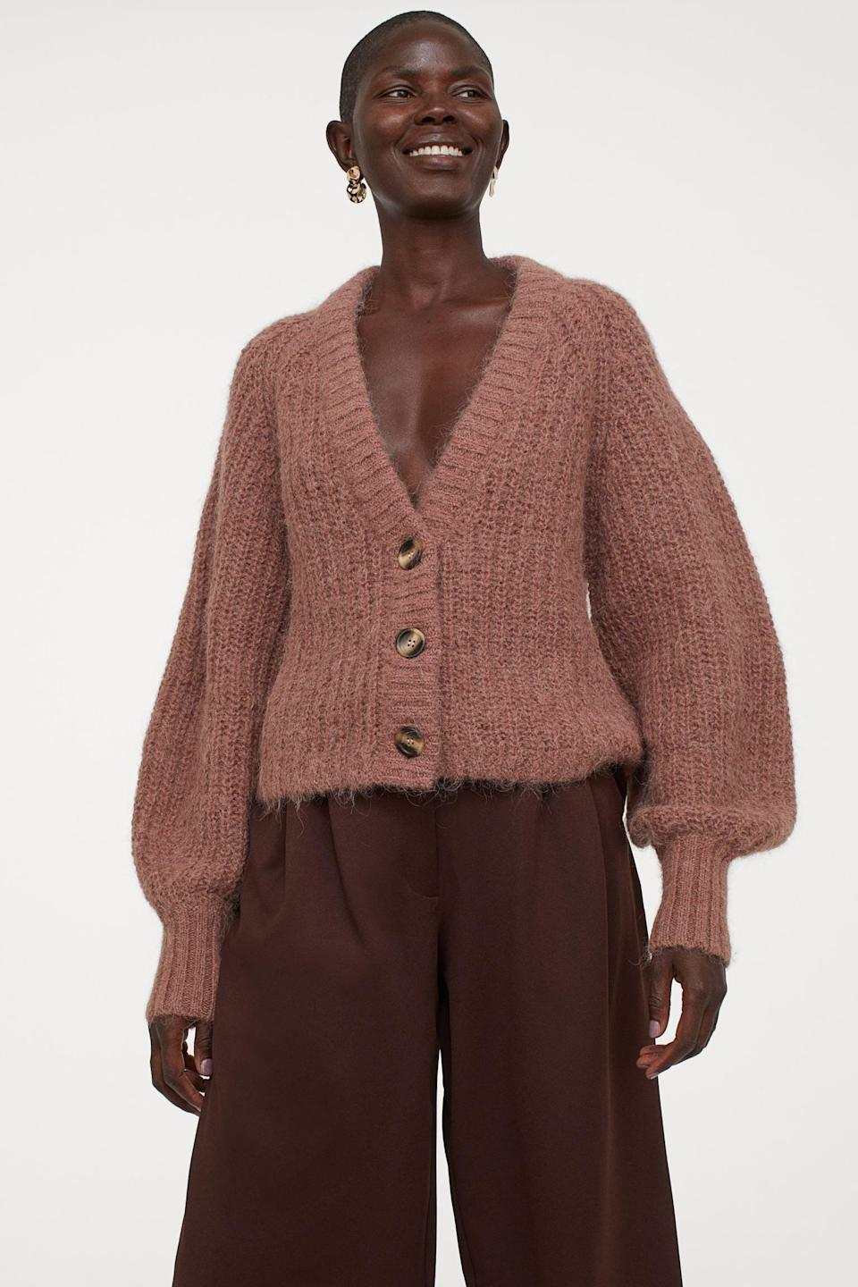 <p>This <span>Knit Wool Cardigan</span> ($60) brings drama in a very stylish way.</p>