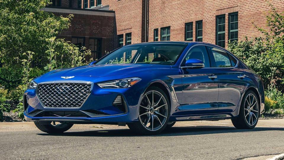 """<p><strong>Score: 6.6 / 10</strong></p> <p>The <a href=""""https://www.motor1.com/reviews/382283/2020-genesis-g70-20t-review/"""" rel=""""nofollow noopener"""" target=""""_blank"""" data-ylk=""""slk:Genesis G70"""" class=""""link rapid-noclick-resp"""">Genesis G70</a> is a fantastic vehicle – it looks good, drives well, and has the latest technology and safety equipment. But this particular model is weighed down by a subpar six-speed manual transmission and a relatively wimpy 2.0-liter engine, which do the otherwise sporty sedan a huge disservice. The V6-powered version is much better. The G70 2.0T scores 6.6 out of 10.</p> <br><a href=""""https://www.motor1.com/reviews/382283/2020-genesis-g70-20t-review/"""" rel=""""nofollow noopener"""" target=""""_blank"""" data-ylk=""""slk:2020 Genesis G70 2.0T Review: No Shift"""" class=""""link rapid-noclick-resp"""">2020 Genesis G70 2.0T Review: No Shift</a><br>"""