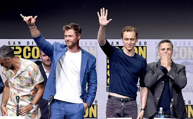 <p>Chris Hemsworth, Tom Hiddleston and Mark Ruffalo attend the Marvel Studios <em>Thor: Ragnarok</em> presentation on July 22, 2017. (Photo by Kevin Winter/Getty Images) </p>