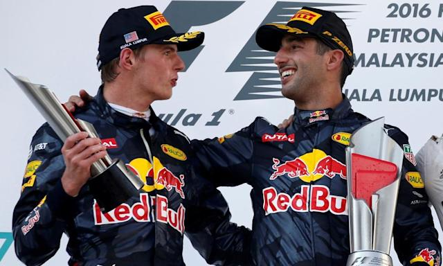 """<span class=""""element-image__caption"""">Red Bull's Daniel Ricciardo celebrates with Max Verstappen after the 2016 Malaysia Grand Prix.</span> <span class=""""element-image__credit"""">Photograph: Edgar Su/Reuters</span>"""