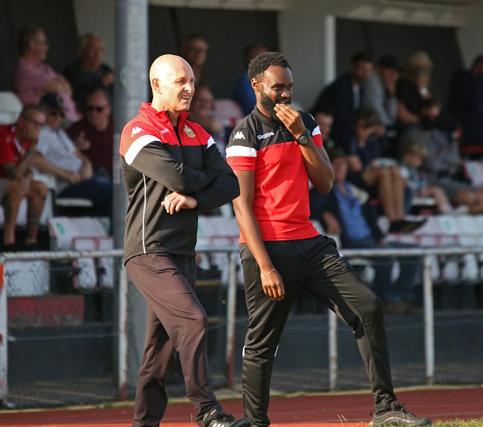 Mark Stimson (left) is looking to continue an incredible FA Trophy record by leading eighth-tier Hornchurch to Wembley
