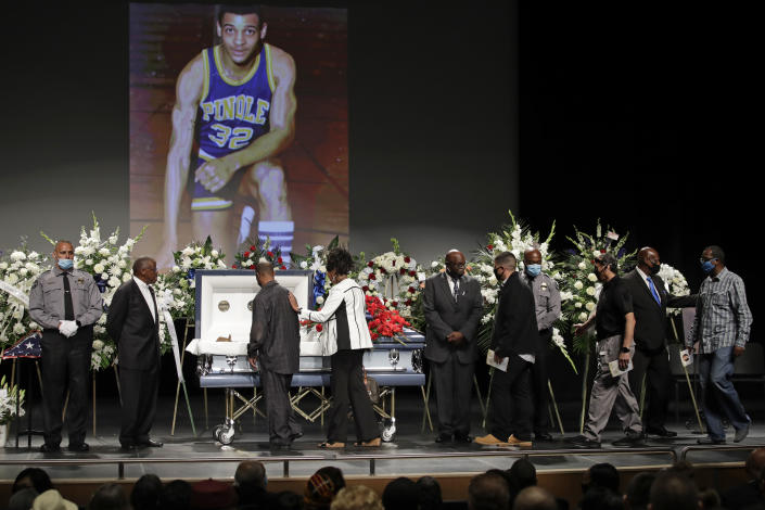 Mourners view the body of Federal Protective Services Officer Dave Patrick Underwood after a memorial service on Friday, June 19, 2020, in Pinole, Calif. (Ben Margot/AP Photo)