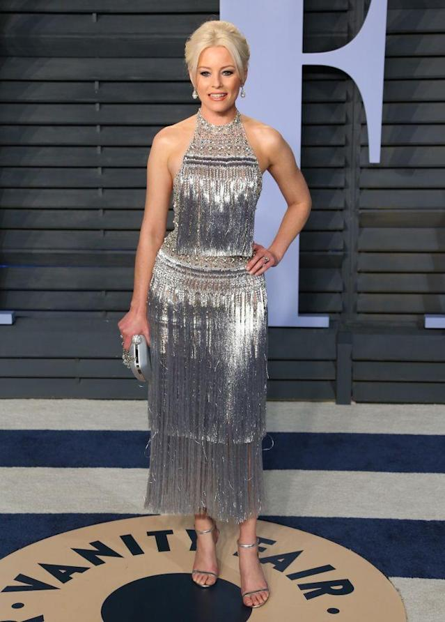 <p>Banks went with futuristic flapper-chic in her metallic dress. (Photo: JEAN-BAPTISTE LACROIX/AFP/Getty Images) </p>