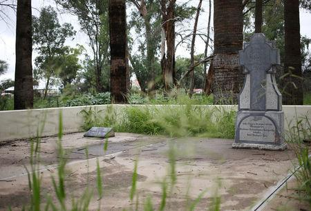 The grave of Samuel Maharero, who led the Herero's fight against the German colonial army, is pictured in Okahandja, north of Windhoek, Namibia, February 21, 2017. Picture taken February 21, 2017. REUTERS/Siphiwe Sibeko